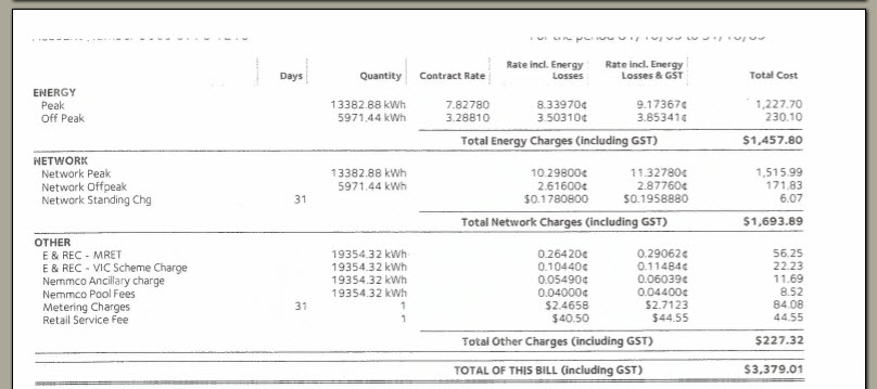 Electricity invoice page 2